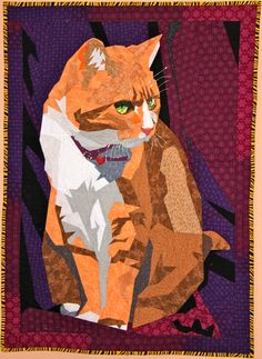 Peaches, a cat quilt by Lisa Fryxell