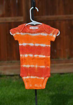 3-6 month Orange Striped Tie Dye Short Sleeved by wumzydesigns