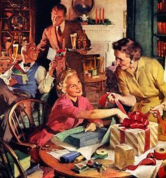 Getting Ready for Christmas by Haddon Sunblom. 1954