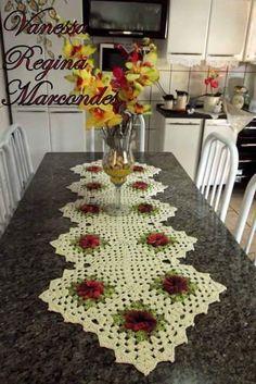 Crochet Table Topper, Crochet Table Runner, Crochet Tablecloth, Crochet Flower Squares, Crochet Flowers, Crochet Dollies, Granny Square Blanket, Yarn Stash, Square Patterns