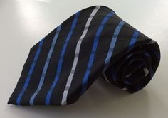 Chaps Neck Tie Black Blue White Stripe 100% Silk #Chaps #NeckTie