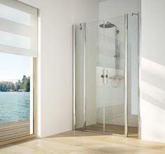 Kleine badkamer? Deze #douchewand, Twistline, van #Artweger is met zijn pendeldeuren de oplossing! Deze deuren kunnen naar binnen en buiten geopend worden.  www.wonen.nl/informatie/Artweger-douchewand-Twistline/5429