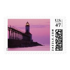 Michigan City Lighthouse at Sunset 2 Postage Stamp