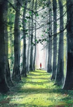 Original Signed Watercolour Painting ~In The Shadows Of The Forest ~ By KJ CARR