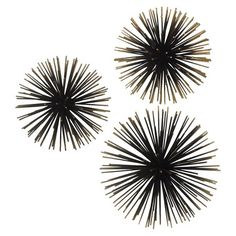 These Sea Urchin Ornamental Wall Decorations make your home pop with excitement. If you're looking for wall décor ideas, these are a really inspired approach to nautical or beach decorating. They provide a great contrast in texture and color to the traditional beach mementos and give your space an edgy attitude. With pop-out interest, this 3D metal wall décor brings your sense of style to a new level. 3-pc. set.