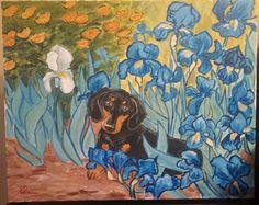 "What if Van Gogh had a Doxie? ""Dachshund in the Irises"" www.facebook.com/artbyeddy Acrylic on 16x20 canvas"