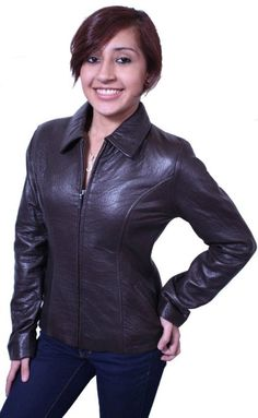 Amazon.com: Womens Leather Jacket Genuine Lamb Leather Brown , Zipper Closure: Clothing