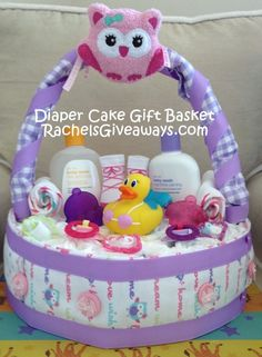 baby shower gift ideas my diy diaper cake gift basket rachelu002639s baby shower gifts ideas for girls 440x600 Baby Shower Crafts, Baby Shower Fun, Shower Gifts, Baby Shower Decorations, Baby Shower Parties, Baby Shower Themes, Shower Ideas, Diy Diapers, Baby Shower Diapers