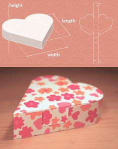 FREE template maker. Many shapes, your sizes. Completely custom sized template for a Heart Shaped Box