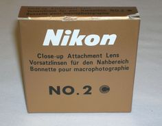 Mint Genuine Nikon Close Up Filter Attachment Lens No. 2 W/ Case, Box & Inst. NR #Nikon