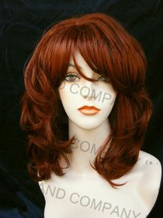 Great Classic Style Wavy Wig w Lots of Layers w Bangs in Copper Red TRMV 130 | eBay
