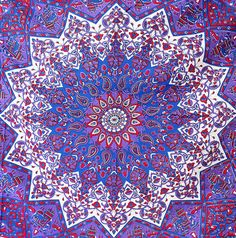 Handmade Fabric Cotton Large Star Mandala Tapestry Bedspread Throw Boho Hippie Wall Hanging Psychedelic Bohemian Home Decor