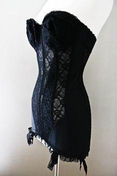 1950s Vintage Black Nylon Lace Bustier - Corset- Lingerie - Girdle