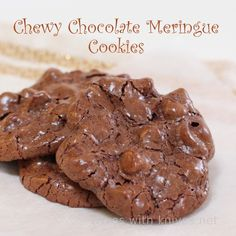 Chocolate meringue cookies.. like those chocolate chewy cookies you see at stores. Very good! batter is kind of think with all the chocolate chips, but it puffs up nicely. Oh and it makes a little over 3 dozen
