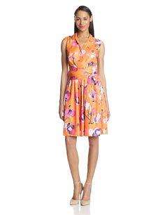 Ellen Tracy Women's Cap-Sleeve Faux-Wrap Dress -- You can get more details here : Women's dresses