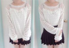 http://bubble-snowflakes.tumblr.com/post/149491898867/white-hollow-out-blouse-elegant-chiffon