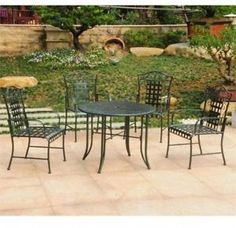 5-Piece-Patio-Dining-Sets-Verdigris-Porch-Chairs-Table-Iron-Frame-Weather-Safe