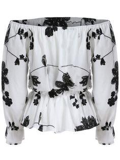 Blusa hombro al aire flores -blanco negro-Spanish SheIn(Sheinside) Sitio Móvil