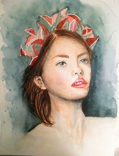 Portrait de femme à la peinture aquarelle #aquarelle #peinture Painting, Easy Watercolor, How To Paint, Artist, Paint Brushes, Drawing Drawing, Paintings, Draw, Drawings
