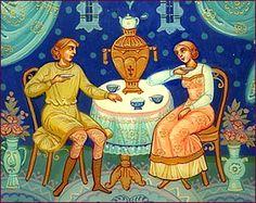 Tea drinking, Mstera School of Painting