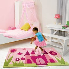 Fairytale Palace Rugs 4191 44 in Pink Contemporary Rugs, Modern Rugs, Botanical Interior, Kids Line, Girls Bedroom, Bedroom Ideas, Pink Room, My Dream Home, Toddler Bed