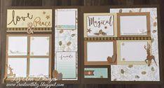 Create with Liz: Oh Deer! Scrapbook Layouts #CTMHOhDeer #SeaGlass