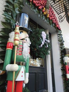 Life-size nutcrackers by front door!