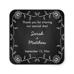 Chalkboard Sunflower Wedding Favor Stickers