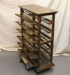 Antique-Oak-Country-Store-Display-Ribbon-Cabinet