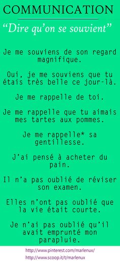 French vocabulary and expressions: Dire qu'on se souvient. French Language Lessons, French Language Learning, French Lessons, Spanish Lessons, Spanish Language, Learning Spanish, French Phrases, French Words, French Quotes