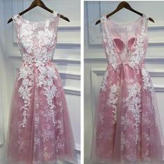 Pink Applique Knee Length Sleeveless Bridesmaid Dress,Round Neck Tulle Homecoming Dresses