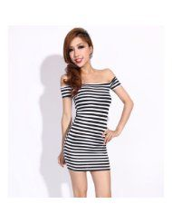 #Krazy Cocktail Party Evening Striped  party fashion #2dayslook #new style #partyforwomen  www.2dayslook.com