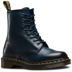 Dr. Martens Leather 1460 Boots ($140) ❤ liked on Polyvore featuring shoes, boots, blue, blue boots, dr. martens, punk rock boots, dr martens shoes and antique shoes