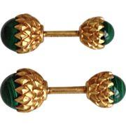 Vintage Tiffany & Co Schlumberger 18k Gold Malachite Acorn Cufflinks Rare