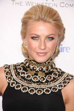 Makeup for NYE  or formal night Possibly? Julianne Houghs blonde, updo hairstyle is perfect for formal occasions