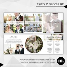 5x5 Trifold Brochure Template with About Me and Session Rates - Photography Marketing - INSTANT DOWNLOAD - TB003