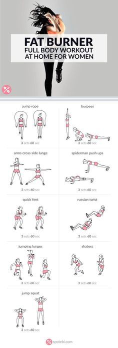 Burn body fat and increase your endurance with this bodyweight routine for women. A 30 minute full body workout to sculpt your body and boost your metabolism. http://www.spotebi.com/workout-routines/fat-burner-full-body-workout-for-women/