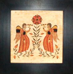 Fractur-Angels Holding Birds with Flower, American Folk Art, Collectible, Affordable Art