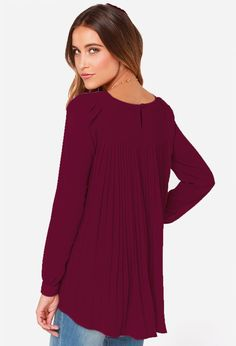 Wine Red Long Sleeve Pleated Back Blouse 15.33