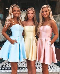 Strapless short homecoming dresses, cheap homecoming dresses for teens, fashion short prom dresses short Cute Homecoming Dresses, Prom Dresses With Pockets, Pink Prom Dresses, Strapless Dress Formal, Teen Dresses, Grad Dresses Short, Dresses Dresses, Wedding Dresses, Corset Dresses
