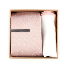 Bhldn Blush Dot Gift Set Ties - Blush   Ties, Bow Ties, and Pocket Squares   The Tie Bar