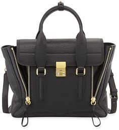 3.1 Phillip Lim Pashli Medium Zip Satchel Bag, Black