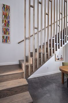 Modern Staircase Design Ideas - Search pictures of modern stairs as well as discover design and also layout ideas to motivate your very own modern staircase remodel, including unique railings and storage space . Modern Stair Railing, Wrought Iron Stair Railing, Stair Railing Design, Stair Handrail, Staircase Railings, Modern Stairs, Stairways, Staircase Ideas, Railing Ideas