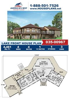 Spending your summer on the lake? Plan 035-00967 would be the perfect build for you featuring 4,461 sq. ft., 4 bedrooms, 4.5 bathrooms, a vaulted great room, a screened porch, a theater room and an angled garage. Learn more about this Lake Front design on our website today. Lake House Plans, Best House Plans, Screened In Deck, Concrete Footings, Floor Plan Drawing, Lake Front, Construction Drawings, Floor Framing, Open Layout