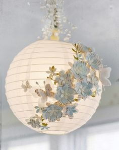 DIY 3D paper lamp Ever wondered how to make one of those cute and fun paper pendants?! With a few paper flowers, butterflies, and beads you'll make the best paper lamp ever!