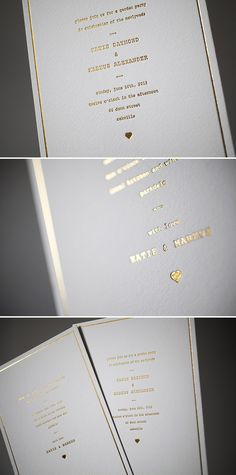 Dazzling in Gold Shine foil: Vintage Librarie wedding invitations by Bella Figura