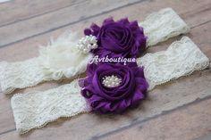 purple wedding garter  purple garter  garter set  by avtboutique
