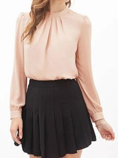 Pink Pleated Long Sleeve Top