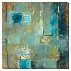 """$199.00 Variable State II Abstract Canvas Painting 40""""x40""""."""