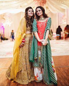 Shereen Lovebug with sister Trishala wearing Sabyasachi outfits. Designer Bridal Lehenga, Bridal Lehenga Choli, Dress Indian Style, Indian Dresses, Indian Wear, Indian Wedding Outfits, Indian Outfits, Bridal Outfits, Mehndi Outfit